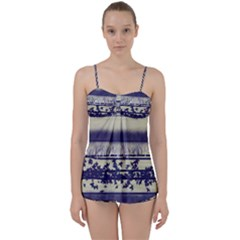 Abstract Beige Blue Lines Babydoll Tankini Set