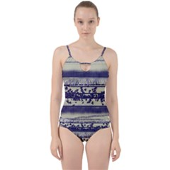 Abstract Beige Blue Lines Cut Out Top Tankini Set
