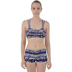 Abstract Beige Blue Lines Perfect Fit Gym Set