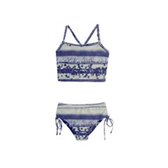 Abstract Beige Blue Lines Girls  Tankini Swimsuit