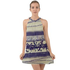 Abstract Beige Blue Lines Halter Tie Back Chiffon Dress