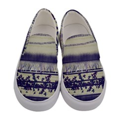 Abstract Beige Blue Lines Women s Canvas Slip Ons