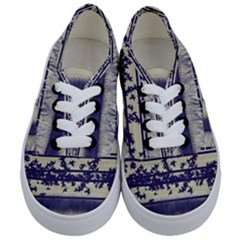 Abstract Beige Blue Lines Kids  Classic Low Top Sneakers