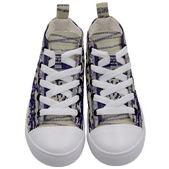 Abstract Beige Blue Lines Kid s Mid Top Canvas Sneakers