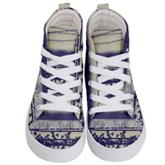 Abstract Beige Blue Lines Kid s Hi Top Skate Sneakers
