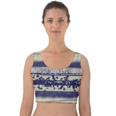 Abstract Beige Blue Lines Velvet Crop Top