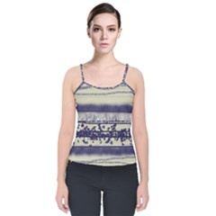Abstract Beige Blue Lines Velvet Spaghetti Strap Top