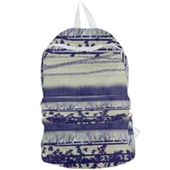 Abstract Beige Blue Lines Foldable Lightweight Backpack