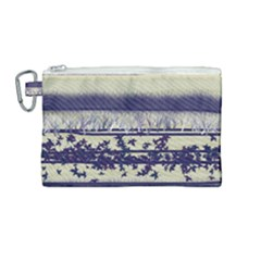 Abstract Beige Blue Lines Canvas Cosmetic Bag (medium)