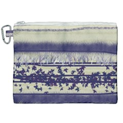 Abstract Beige Blue Lines Canvas Cosmetic Bag (xxl)