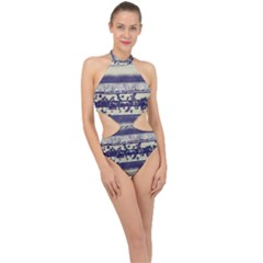 Abstract Beige Blue Lines Halter Side Cut Swimsuit