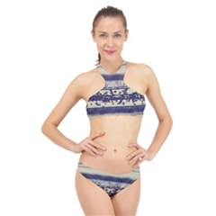 Abstract Beige Blue Lines High Neck Bikini Set