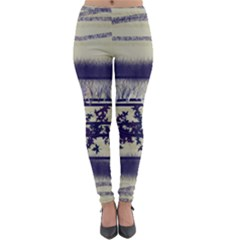 Abstract Beige Blue Lines Lightweight Velour Leggings
