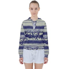 Abstract Beige Blue Lines Women s Tie Up Sweat