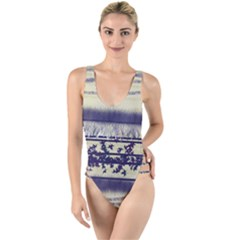 Abstract Beige Blue Lines High Leg Strappy Swimsuit