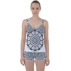 Textura Model Texture Design Lines Tie Front Two Piece Tankini