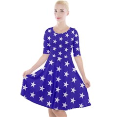 Day Independence July Background Quarter Sleeve A-line Dress