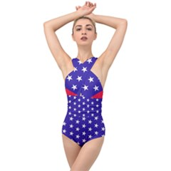 Day Independence July Background Cross Front Low Back Swimsuit