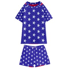 Day Independence July Background Kids  Swim Tee And Shorts Set
