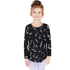 Scribbles Lines Drawing Picture Kids  Long Sleeve Tee