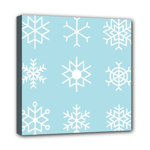 Snowflakes Winter Graphics Weather Mini Canvas 8  X 8  (stretched) by Simbadda
