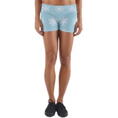 Snowflakes Winter Graphics Weather Yoga Shorts