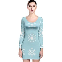 Snowflakes Winter Graphics Weather Long Sleeve Velvet Bodycon Dress