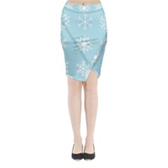 Snowflakes Winter Graphics Weather Midi Wrap Pencil Skirt