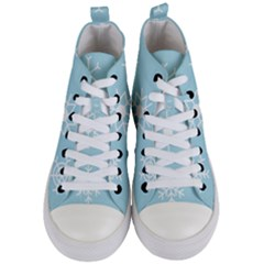 Snowflakes Winter Graphics Weather Women s Mid Top Canvas Sneakers