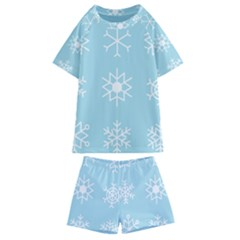 Snowflakes Winter Graphics Weather Kids  Swim Tee And Shorts Set