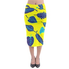 Leaves Pattern Picture Detail Midi Pencil Skirt by Simbadda