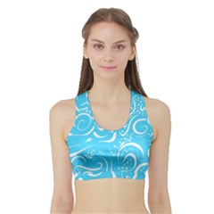 Scribble Reason Design Pattern Sports Bra With Border