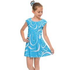 Scribble Reason Design Pattern Kids Cap Sleeve Dress