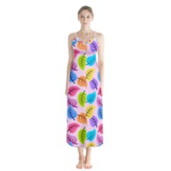 Colorful Leaves Button Up Chiffon Maxi Dress