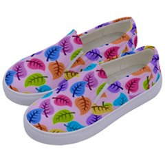 Colorful Leaves Kids  Canvas Slip Ons by vintage2030