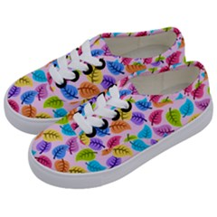 Colorful Leaves Kids  Classic Low Top Sneakers by vintage2030