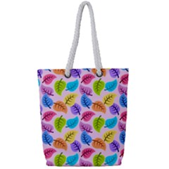Colorful Leaves Full Print Rope Handle Tote (small) by vintage2030