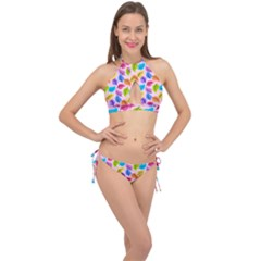Colorful Leaves Cross Front Halter Bikini Set by vintage2030