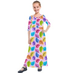 Colorful Leaves Kids  Quarter Sleeve Maxi Dress by vintage2030