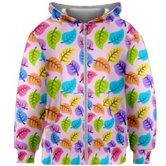 Colorful Leaves Kids Zipper Hoodie Without Drawstring