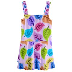 Colorful Leaves Kids  Layered Skirt Swimsuit