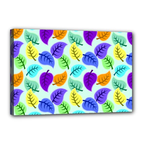 Colorful Leaves Blue Canvas 18  X 12  (stretched)