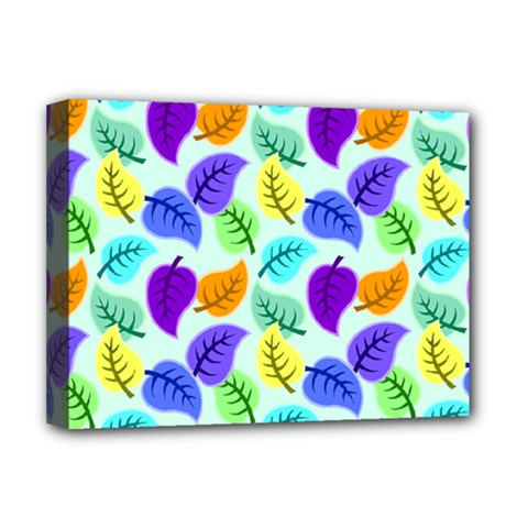 Colorful Leaves Blue Deluxe Canvas 16  X 12  (stretched)  by vintage2030
