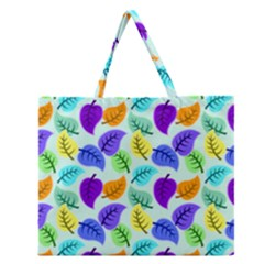 Colorful Leaves Blue Zipper Large Tote Bag by vintage2030