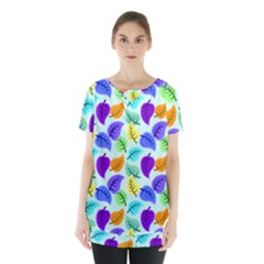 Colorful Leaves Blue Skirt Hem Sports Top by vintage2030