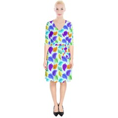 Colorful Leaves Blue Wrap Up Cocktail Dress