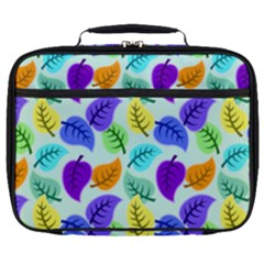 Colorful Leaves Blue Full Print Lunch Bag by vintage2030
