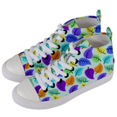 Colorful Leaves Blue Women s Mid Top Canvas Sneakers by vintage2030
