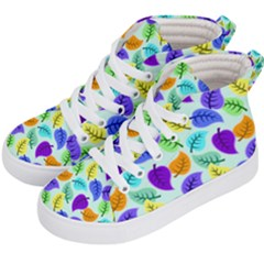 Colorful Leaves Blue Kid s Hi Top Skate Sneakers by vintage2030