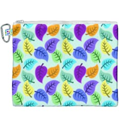 Colorful Leaves Blue Canvas Cosmetic Bag (xxxl) by vintage2030